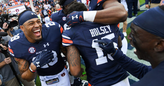 Nov 5, 2016; Auburn, AL, USA; Auburn Tigers defensive back Tray Matthews (28) celebrates with teammates after the game against the Vanderbilt Commodores at Jordan Hare Stadium. Auburn won 23-16. Mandatory Credit: Shanna Lockwood-USA TODAY Sports