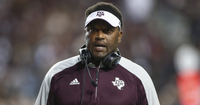 Nov 12, 2016; College Station, TX, USA; Texas A&M Aggies head coach Kevin Sumlin walks on the field during the game against the Mississippi Rebels at Kyle Field. Mandatory Credit: Troy Taormina-USA TODAY Sports