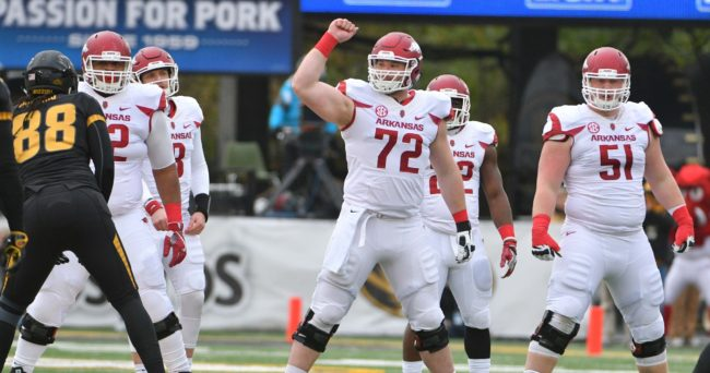 Nov 25, 2016; Columbia, MO, USA; Arkansas Razorbacks offensive lineman Frank Ragnow (72) signals at the line of scrimmage to the rest of the offensive line during the first half agains the Missouri Tigers at Faurot Field. Missouri won 28-24. Mandatory Credit: Denny Medley-USA TODAY Sports