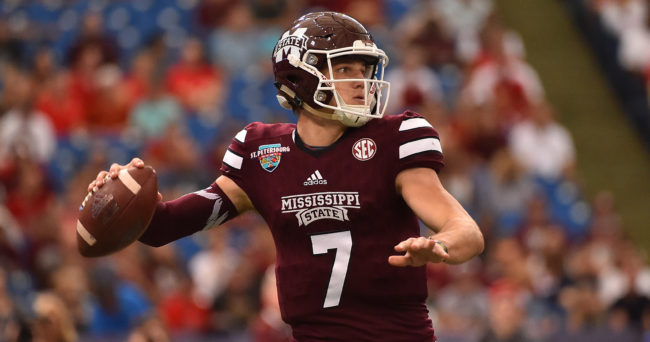 Dec 26, 2016; St. Petersburg, FL, USA; Mississippi State Bulldogs quarterback Nick Fitzgerald (7) attempts a pass against the Miami Redhawks during the first half at Tropicana Field. Mandatory Credit: Jasen Vinlove-USA TODAY Sports