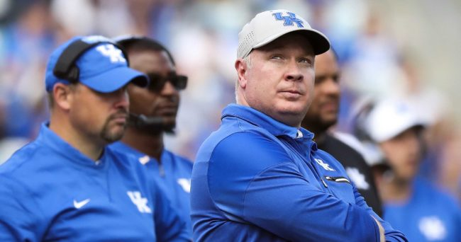 Dec 31, 2016; Jacksonville, FL, USA;  Kentucky Wildcats head coach Mark Stoops (center) looks on from the bench in the second half against the Georgia Tech Yellow Jackets at EverBank Field. The Georgia Tech Yellow Jackets won 33-18. Mandatory Credit: Logan Bowles-USA TODAY Sports