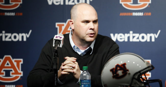 Jan 21, 2017; Auburn, AL, USA; New Auburn Tigers offensive coordinator Chip Lindsey is introduced to the media following the basketball game against the Alabama Crimson Tide at Auburn Arena.  Mandatory Credit: John Reed-USA TODAY Sports