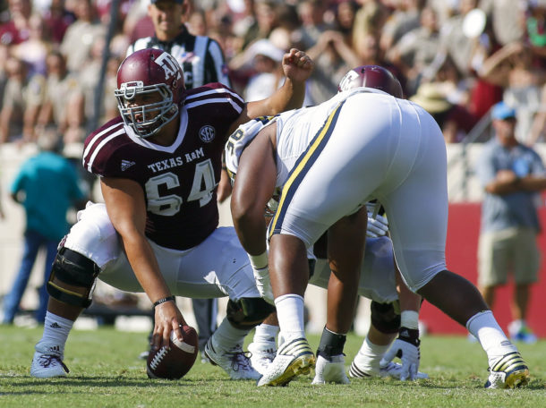 Sep 3, 2016; College Station, TX, USA; Texas A&M Aggies center Erik McCoy (64) against the UCLA Bruins during a game at Kyle Field. Texas A&M won in overtime 31-24. Mandatory Credit: Ray Carlin-USA TODAY Sports