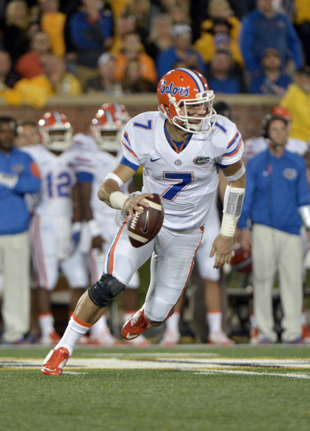Oct 10, 2015; Columbia, MO, USA; Florida Gators quarterback Will Grier (7) scrambles during the second half against the Missouri Tigers at Faurot Field. Florida won 21-3. Mandatory Credit: Denny Medley-USA TODAY Sports