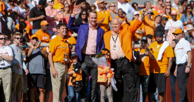 Oct 15, 2016; Knoxville, TN, USA;  Tennessee Volunteers former quarterback Peyton Manning stands with Tennessee Volunteers vice chancellor/director of athletics Dave Hart (left) and former Volunteers head coach Phillip Fulmer (right) before the game against the Alabama Crimson Tide at Neyland Stadium. Mandatory Credit: Randy Sartin-USA TODAY Sports