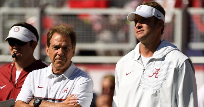 Oct 22, 2016; Tuscaloosa, AL, USA; Alabama Crimson Tide head coach Nick Saban talks with offensive coordinator Lane Kiffin before their game against the Texas A&M Aggies at Bryant-Denny Stadium. Mandatory Credit: John David Mercer-USA TODAY Sports