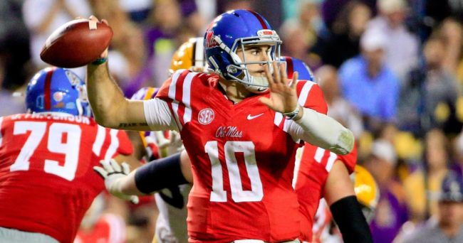 Oct 22, 2016; Baton Rouge, LA, USA; Mississippi Rebels quarterback Chad Kelly (10) throws against the LSU Tigers during the second half of a game at Tiger Stadium. LSU defeated Mississippi 38-21. Mandatory Credit: Derick E. Hingle-USA TODAY Sports