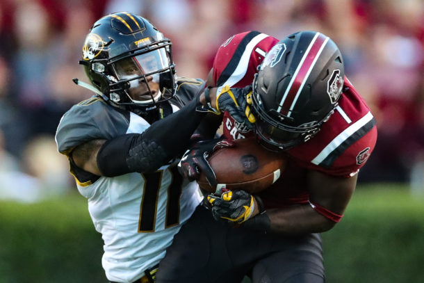 Nov 5, 2016; Columbia, SC, USA; South Carolina Gamecocks wide receiver Deebo Samuel (1) holds on to the ball after the catch as Missouri Tigers defensive back Aarion Penton (11) tries to wrap him up during the game at Williams-Brice Stadium. South Carolina wins 31-21 over Missouri. Mandatory Credit: Jim Dedmon-USA TODAY Sports