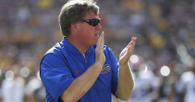 Jan 2, 2017; Tampa , FL, USA; Florida Gators head coach Jim McElwain claps prior to the game against the Iowa Hawkeyes at Raymond James Stadium. Mandatory Credit: Logan Bowles-USA TODAY Sports