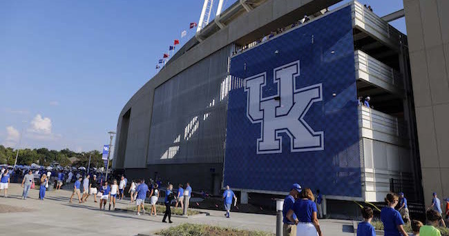 Sep 5, 2015; Lexington, KY, USA; A general view of  Commonwealth Stadium before the game against the Kentucky Wildcats and the Louisiana Lafayette Ragin Cajuns. Kentucky defeated Louisiana Lafayette 40-33. Mandatory Credit: Mark Zerof-USA TODAY Sports