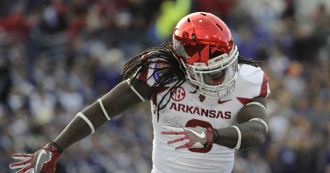 Jan 2, 2016; Memphis, TN, USA; Arkansas Razorbacks running back Alex Collins (3) celebrates in the end zone against the Kansas State Wildcats during the first half at Liberty Bowl. Mandatory Credit: Justin Ford-USA TODAY Sports