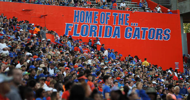 """Apr 8, 2016; Gainesville, FL, USA; A general view of the """"Home of the Florida Gators"""" sign during the Orange and Blue game at Ben Hill Griffin Stadium. Blue won 38-6. Mandatory Credit: Logan Bowles-USA TODAY Sports"""