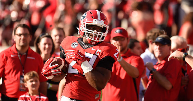 Sep 19, 2015; Athens, GA, USA; Georgia Bulldogs running back Nick Chubb (27) warms up on the field prior to the game against the South Carolina Gamecocks at Sanford Stadium. Mandatory Credit: Dale Zanine-USA TODAY Sports