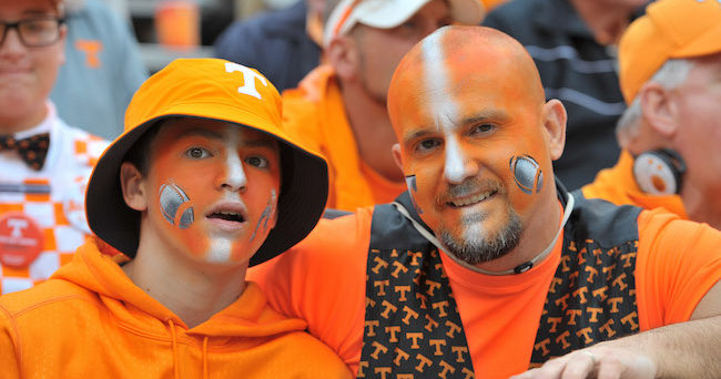 Oct 10, 2015; Knoxville, TN, USA;Tennessee Volunteers fans Chad Bailey and son Alex of Briston Tennessee show their support prior to the game against the Georgia Bulldogs at Neyland Stadium. Mandatory Credit: Jim Brown-USA TODAY Sports