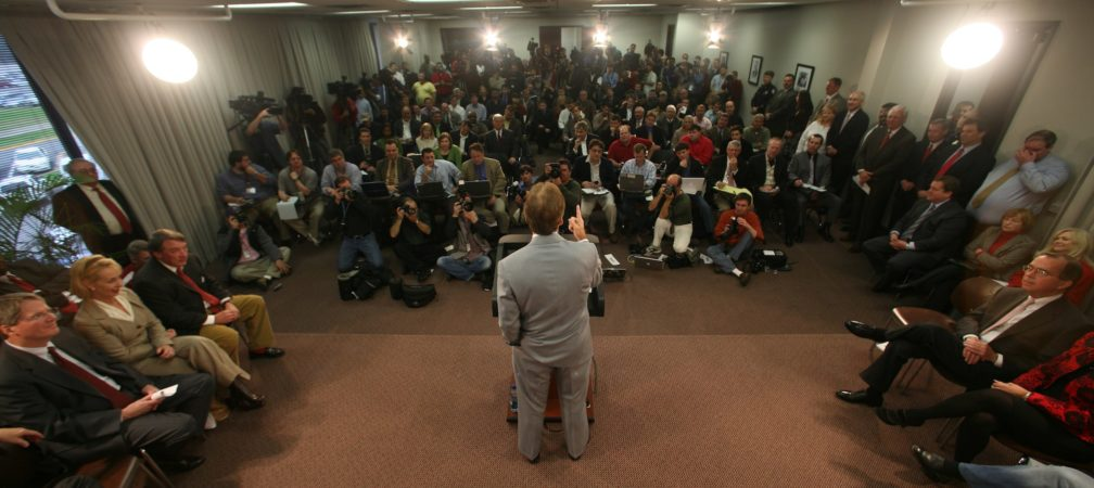 Coach Nick Saban Press Conference and Arrival Jan 2007 Remote shot Saban addresses the media  Photo by Kent Gidley Copyright © 2007, The University of Alabama. All rights reserved.  No part of this site may be reproduced without written permission.