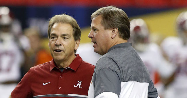Dec 3, 2016; Atlanta, GA, USA; Alabama Crimson Tide head coach Nick Saban speaks with Florida Gators head coach Jim McElwain prior to the SEC Championship college football game at Georgia Dome. Mandatory Credit: Brett Davis-USA TODAY Sports